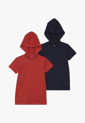 2 PACK - T-shirt print - red/navy