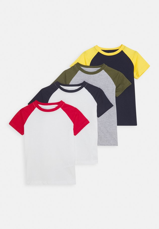 BOYS RAGLAN TEE 4 PACK - Camiseta estampada - dark blue/red/light grey
