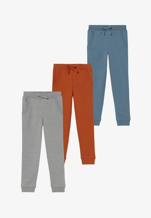 3 PACK  - Tracksuit bottoms - light grey melange/mecca orange
