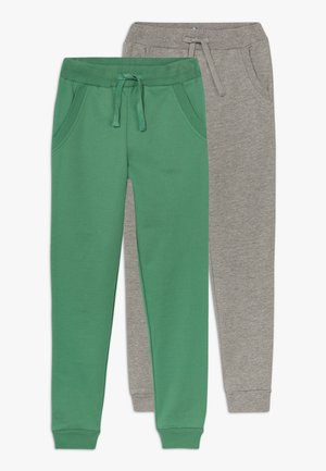 2 PACK - Pantaloni sportivi - light grey melange/bottle green