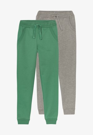 2 PACK - Pantalones deportivos - light grey melange/bottle green