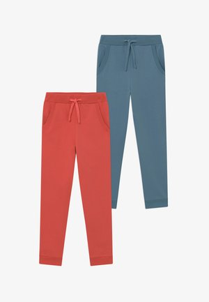 2 PACK - Tracksuit bottoms - spiced coral/blue
