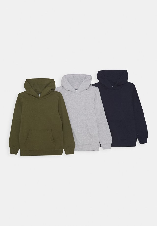 3 PACK - Felpa con cappuccio - dark blue/light grey/khaki