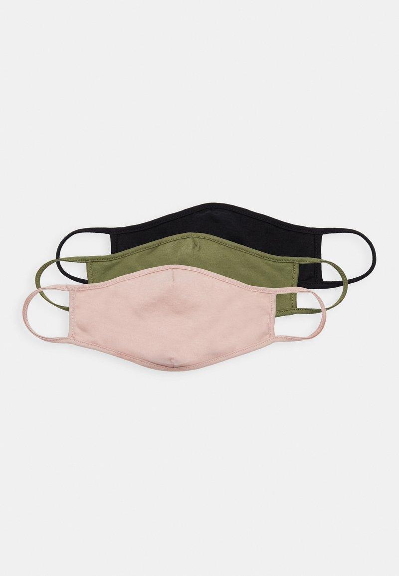 Friboo - 3 PACK - Stoffen mondkapje - black/green/pink