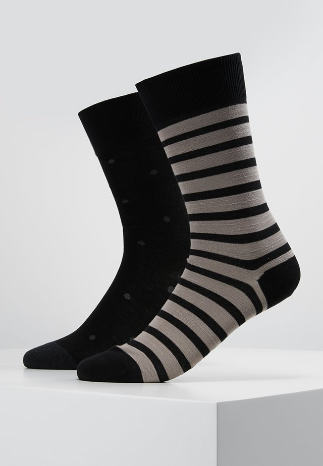 2 PACK EVEN STRIP DOT - Socks - black