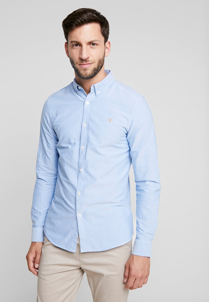 Farah - BREWER SLIM FIT - Shirt - mid blue