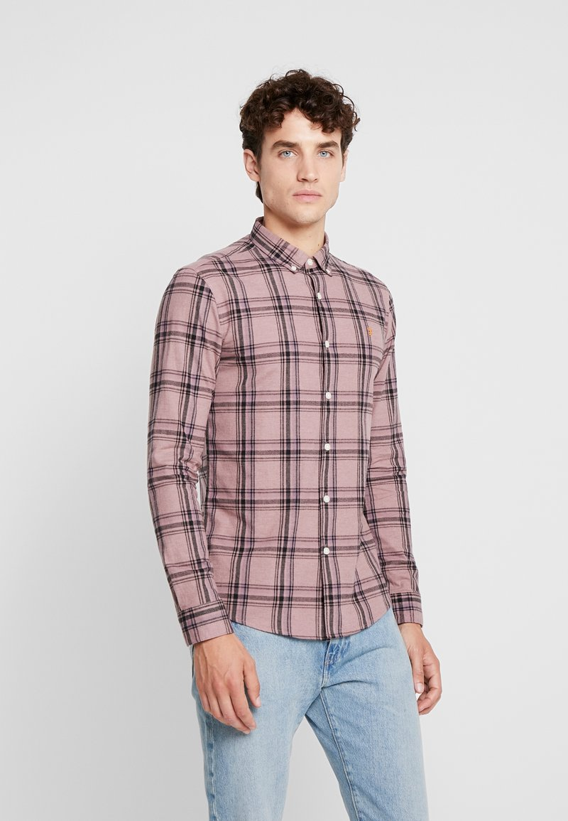 Farah - STEEN CHECK - Shirt - dark mauve
