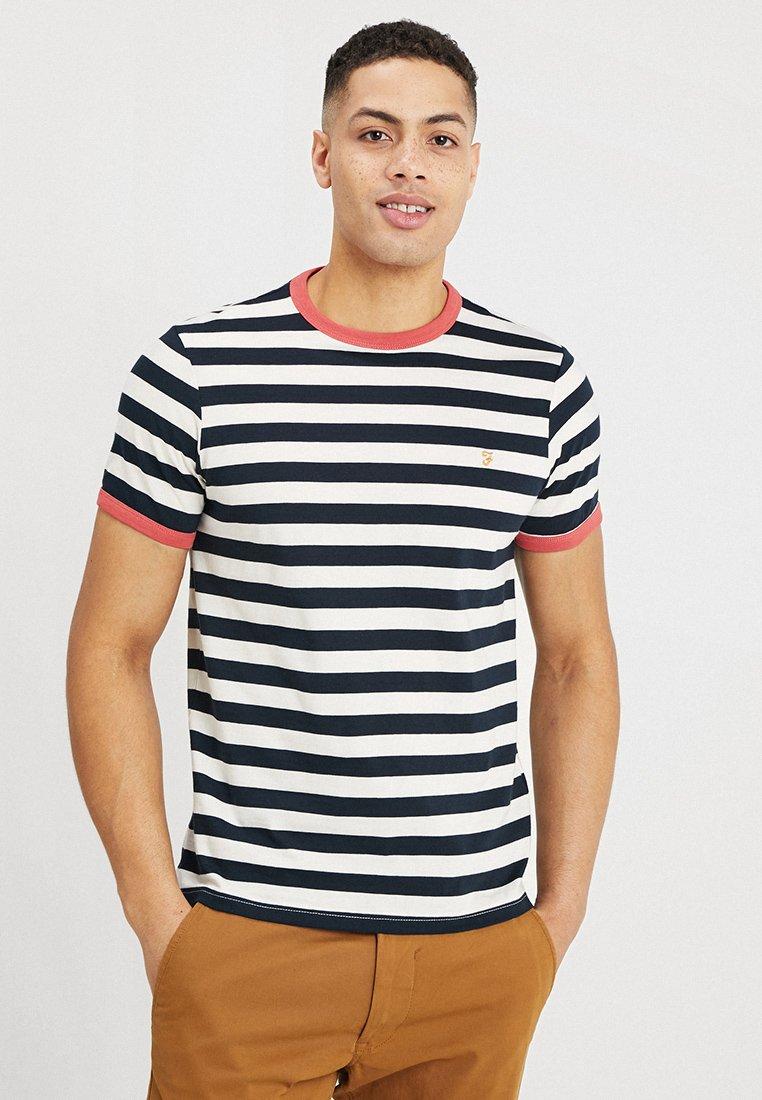 Farah - BELGROVE STRIPE TEE - Print T-shirt - dark blue/white