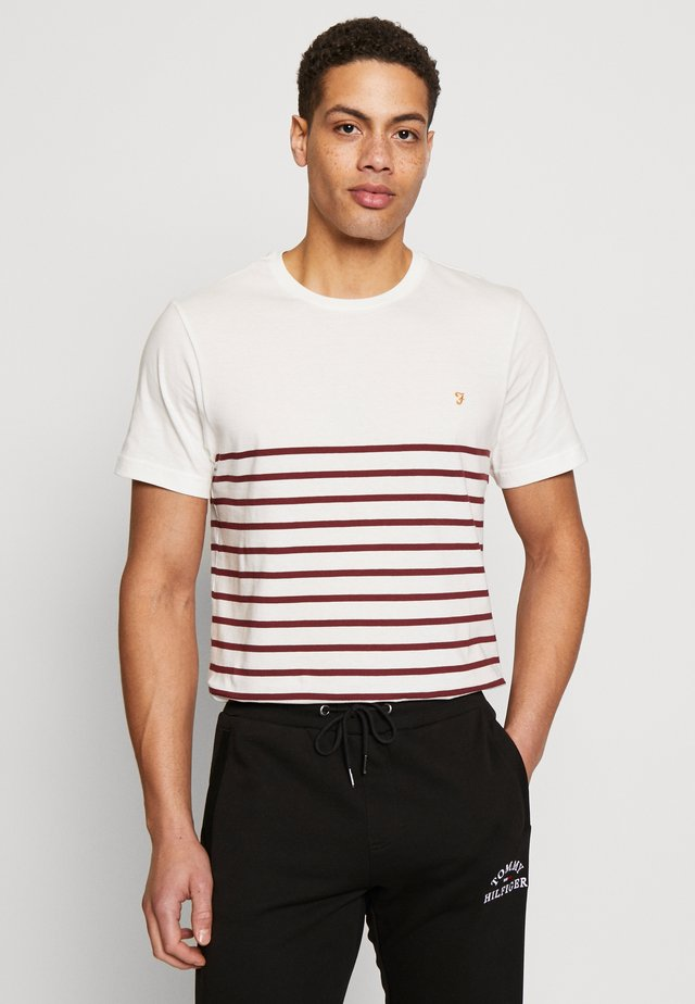 COOK STRIPED TEE - T-shirt z nadrukiem - dark red