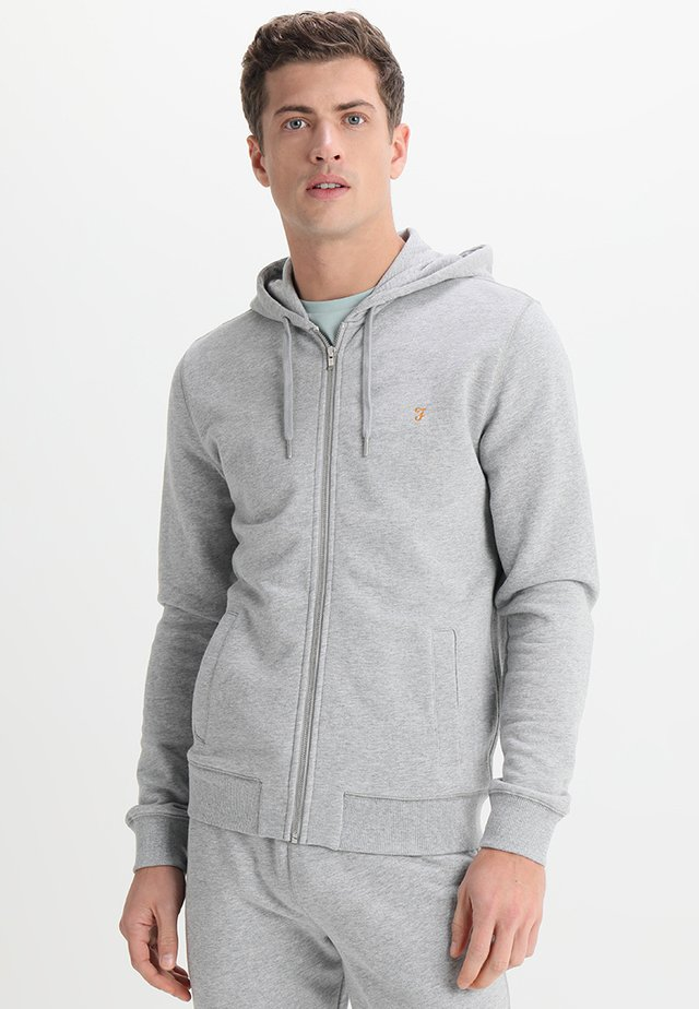 KYLE HOODIE - Huvtröja med dragkedja - light grey marl