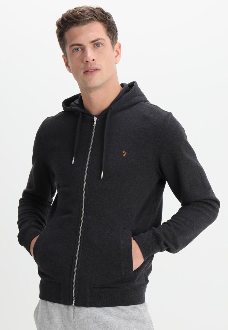 Farah - KYLE HOODIE - Zip-up hoodie - black marl