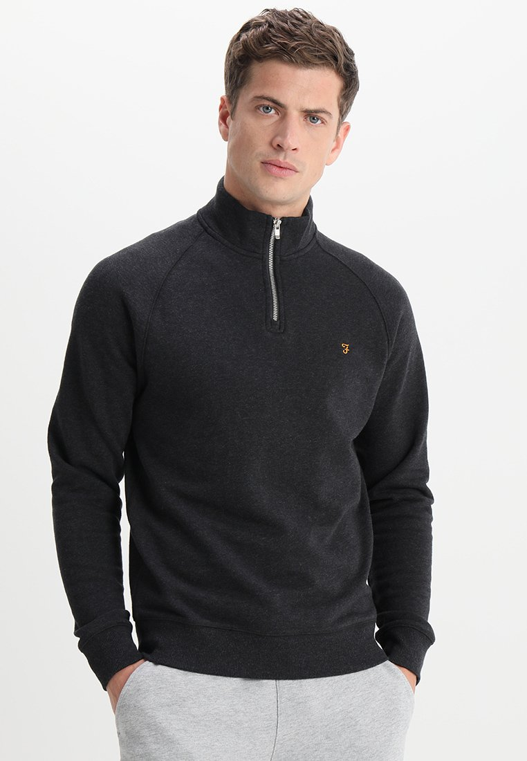 Farah - JIM ZIP - Sweatshirt - black marl