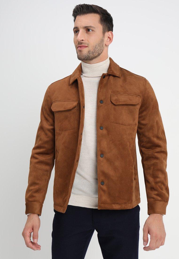 Farah - FINLAY FAUX SUEDE - Faux leather jacket - teak