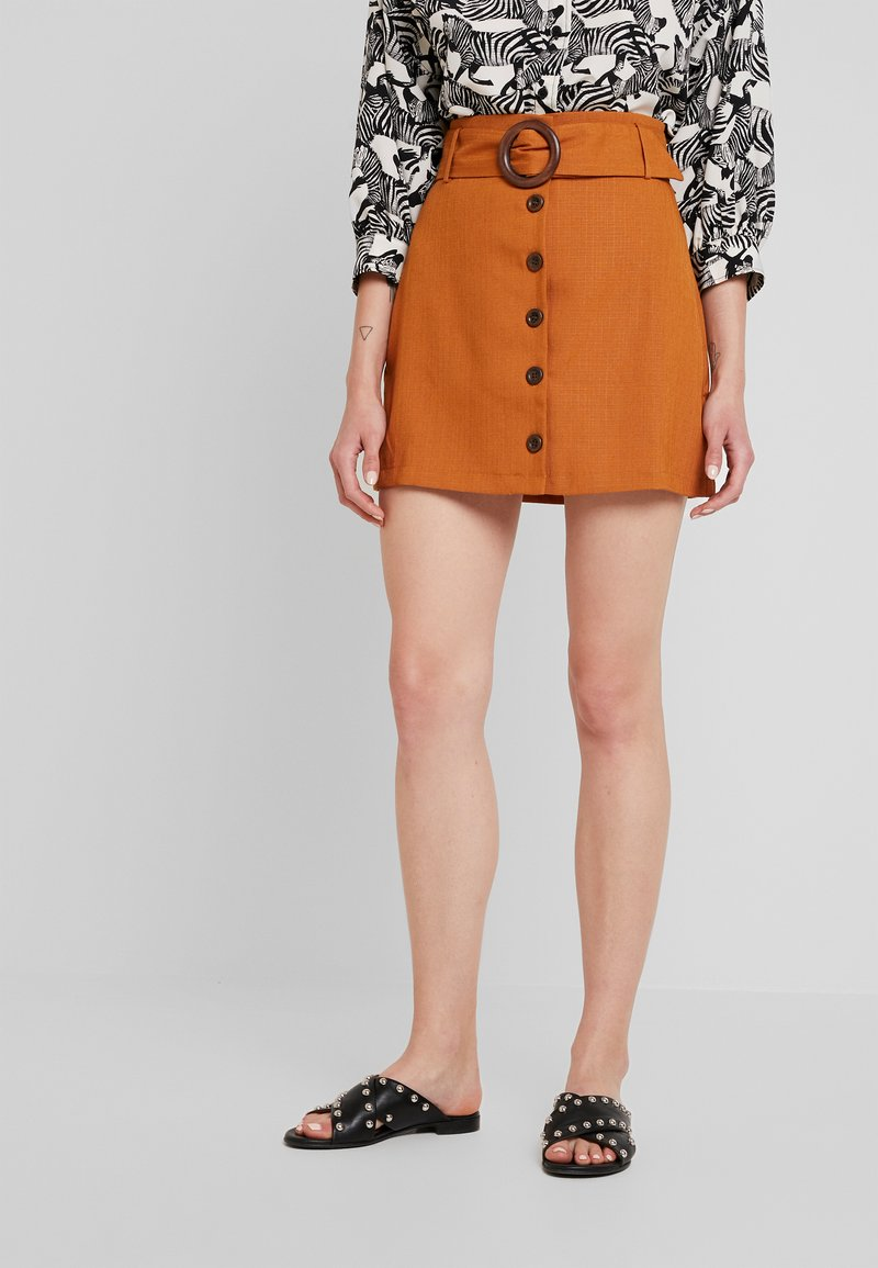 Fashion Union - SMARTY SKIRT - A-Linien-Rock - brown