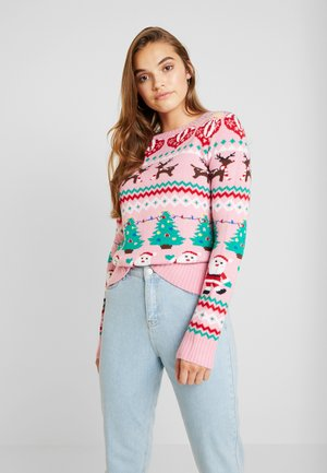CHRISTMAS WRAPPING PAPER FAIR ISLE - Jumper - pink