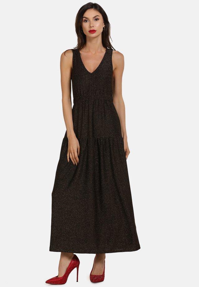 Długa sukienka - schwarz gold