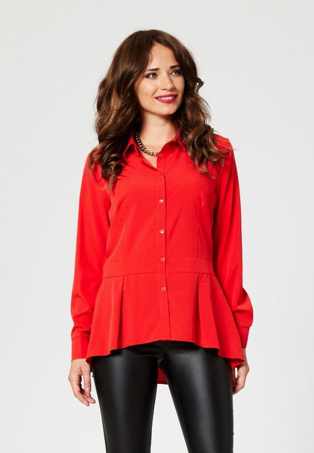 Button-down blouse - red