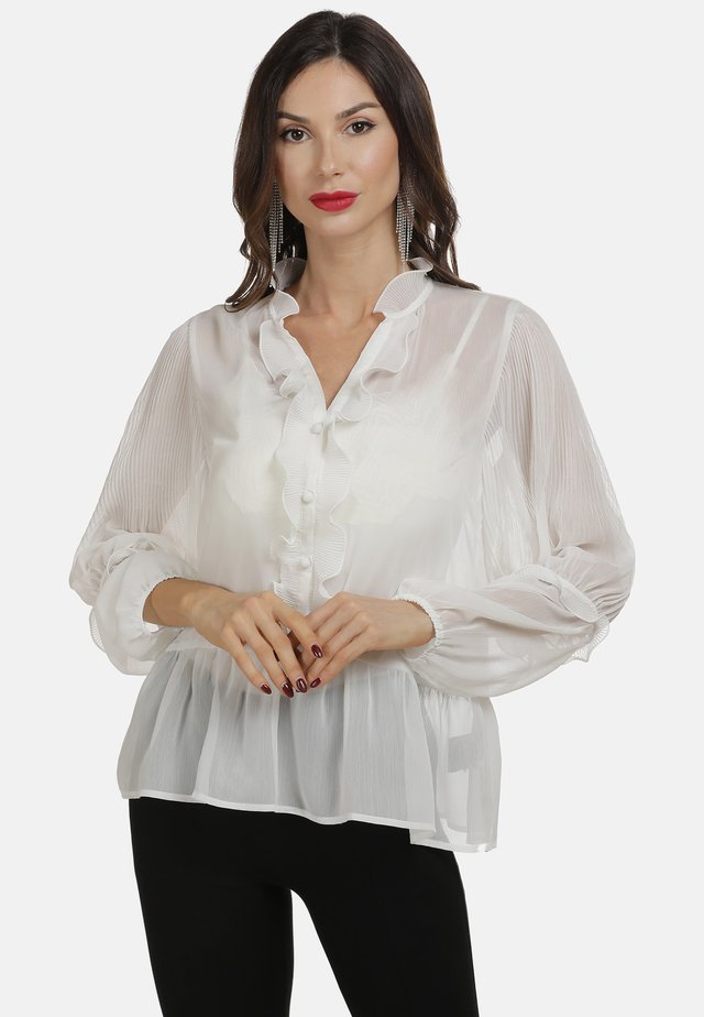 Button-down blouse - wollweiss