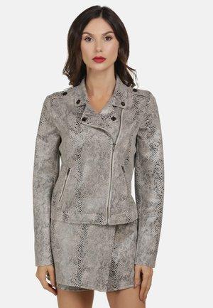 MIT SCHLANGENPRINT - Faux leather jacket - grey