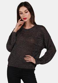faina - Stickad tröja - black - 0