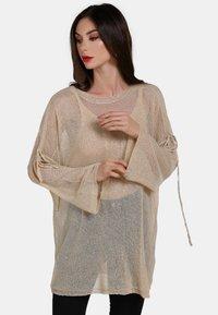 faina - Stickad tröja - beige - 0