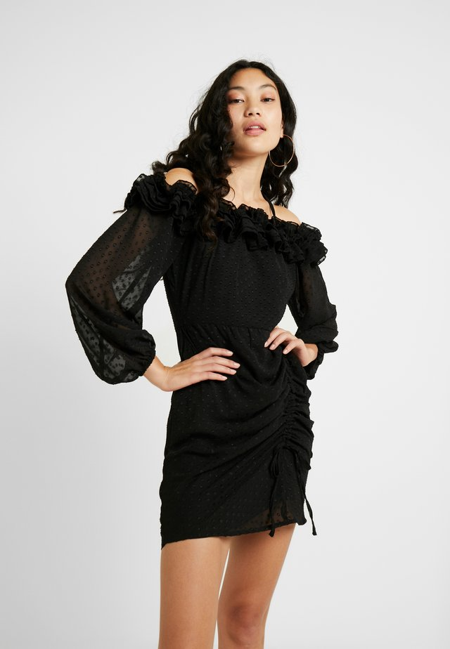 ROBERTO DOBBY SPOT OFF SHOULDER DRESS - Korte jurk - black