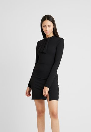 MINI DRESS WITH PUSSYBOW AND SIDE SPLIT - Shift dress - black