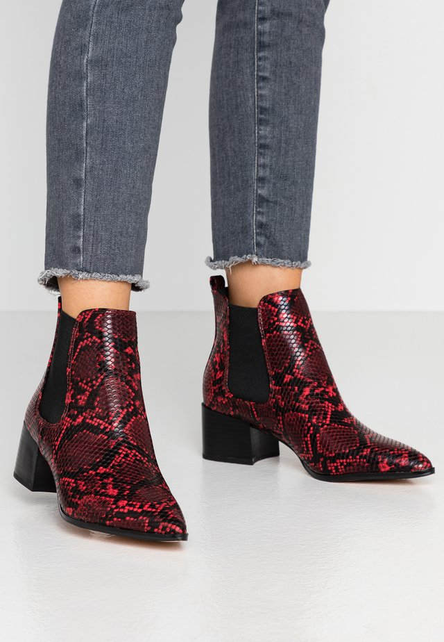 BEADED - Ankle Boot - red