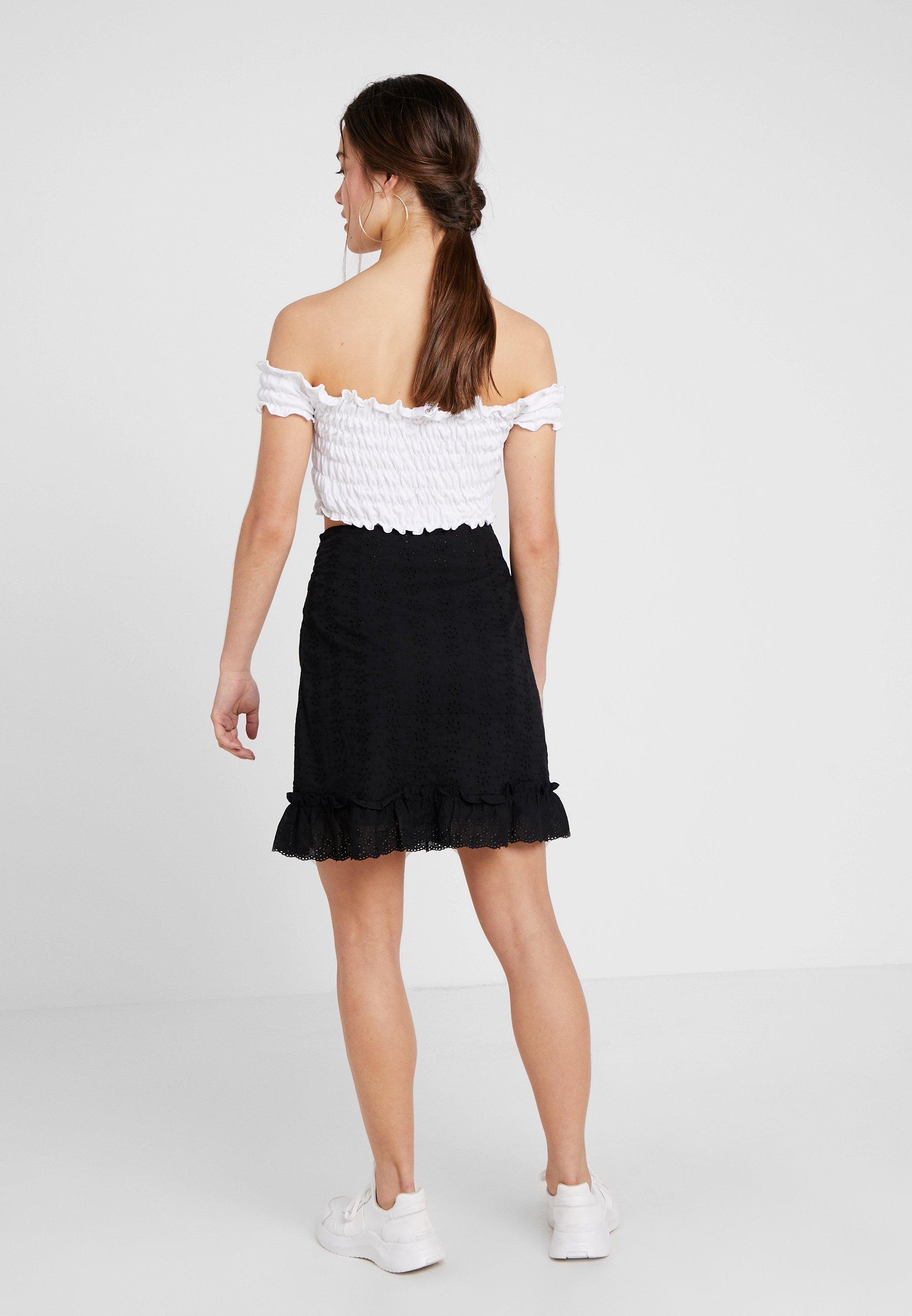 Petite Fashion Skirt HemJupe Black Mini Anglaise Union With Trapèze Frilled j4Lc35ASqR