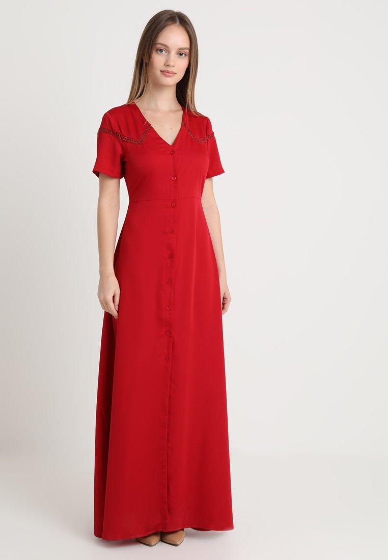 Fashion Union Petite - HENRY BUTTON THROUGH MIDI DRESS WITH TRIM DETAIL - Robe longue - deep red