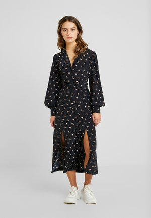 JULIEFASHION UNION MIDI DRESS WITH SIDE SPLITS AND BELT - Sukienka koszulowa - black