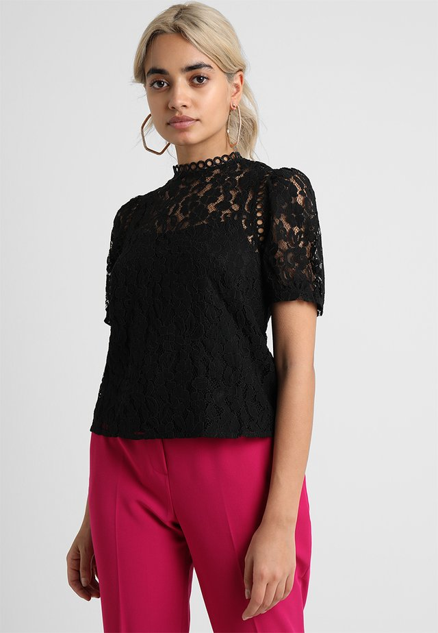 LILLO LACE BLOUSE WITH PUFF SLEEVES  - Blus - black
