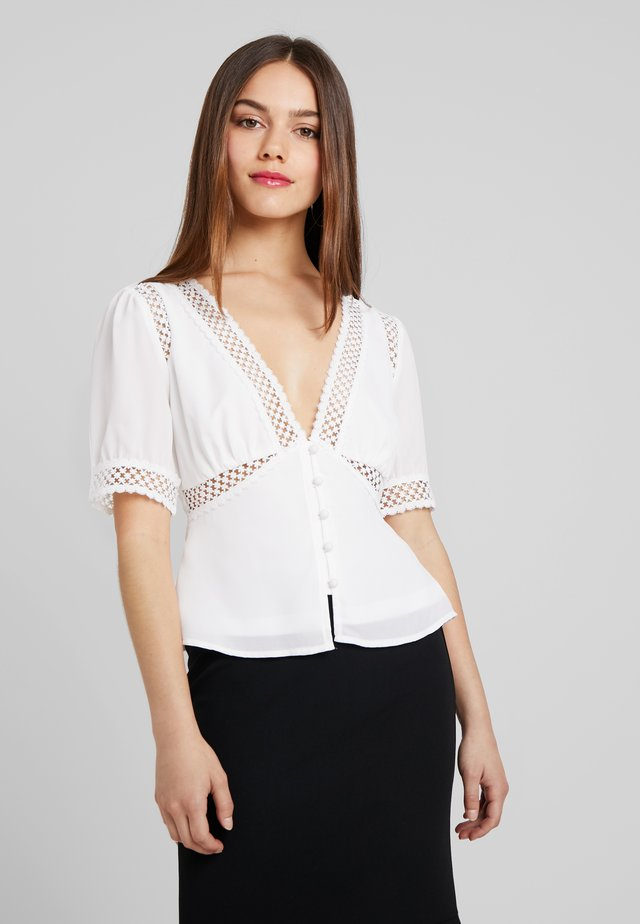 BLOUSE WITH INSERT - Pusero - ivory
