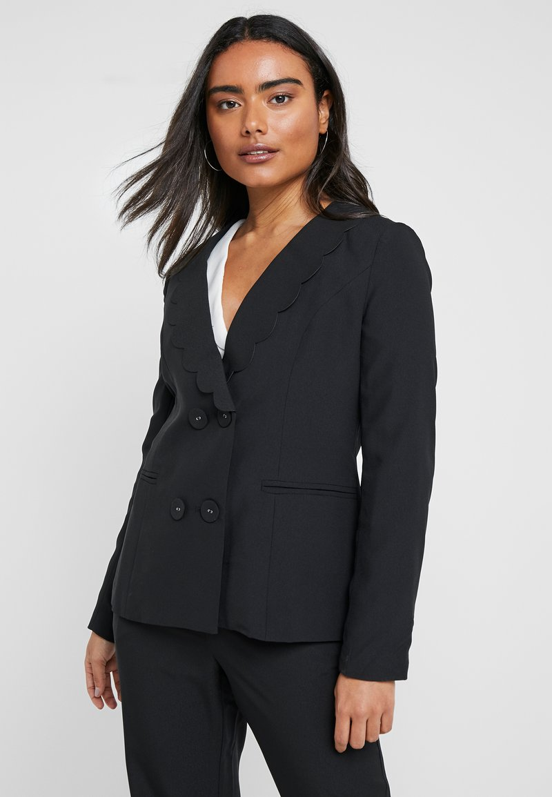 Fashion Union Petite - TORA SCALLOP TRIM - Blazer - black