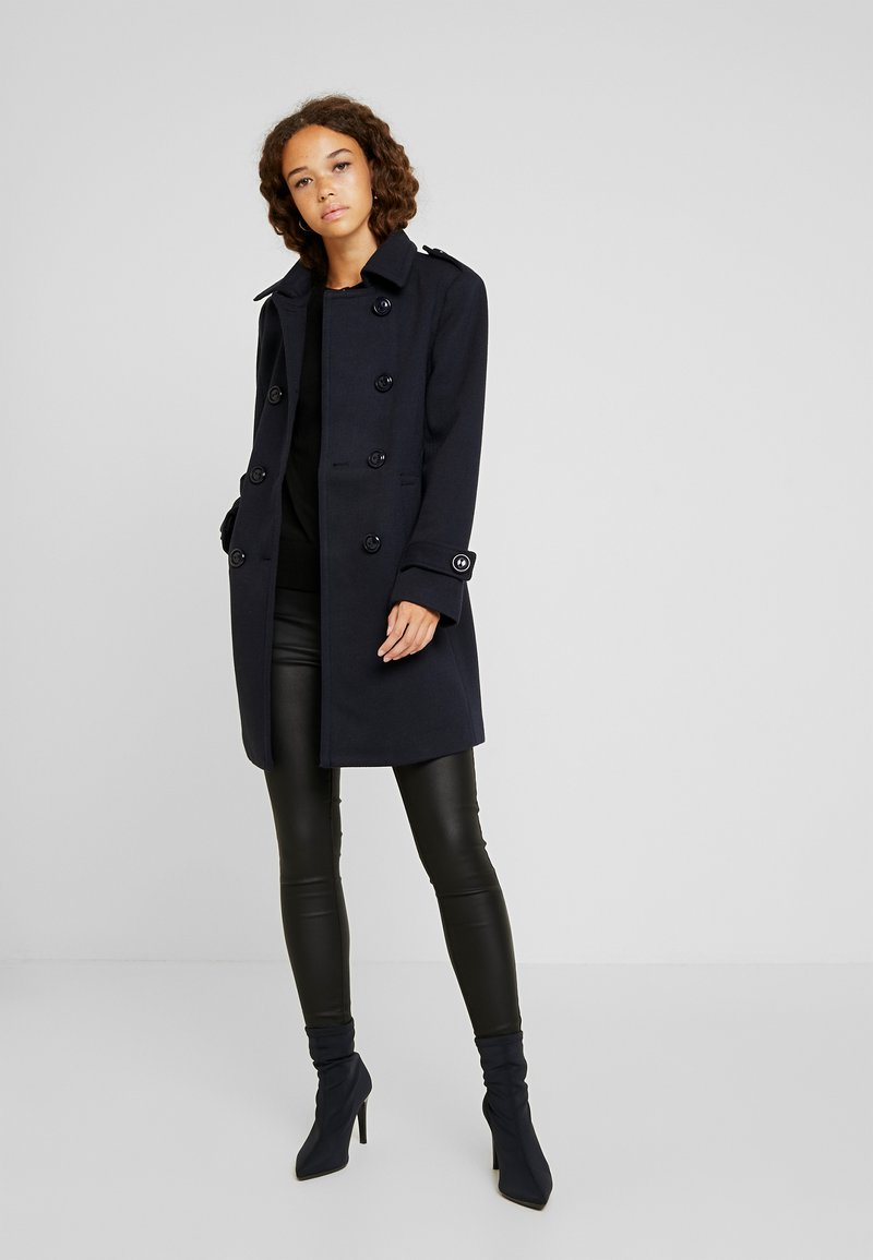 Fashion Union Petite - DOUBLE BREASTED PEA COAT - Kort kappa / rock - navy