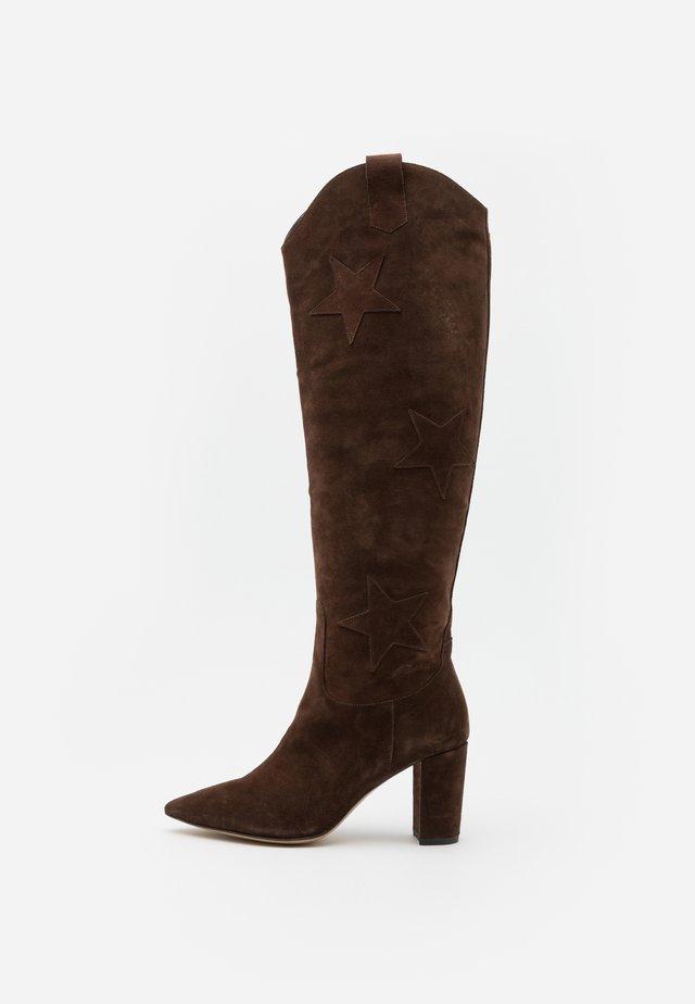 HUGO HIGH STAR BOOT - Kozačky nad kolena - dark brown