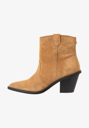 DOLLY ZIPPER - Cowboy/biker ankle boot - sand