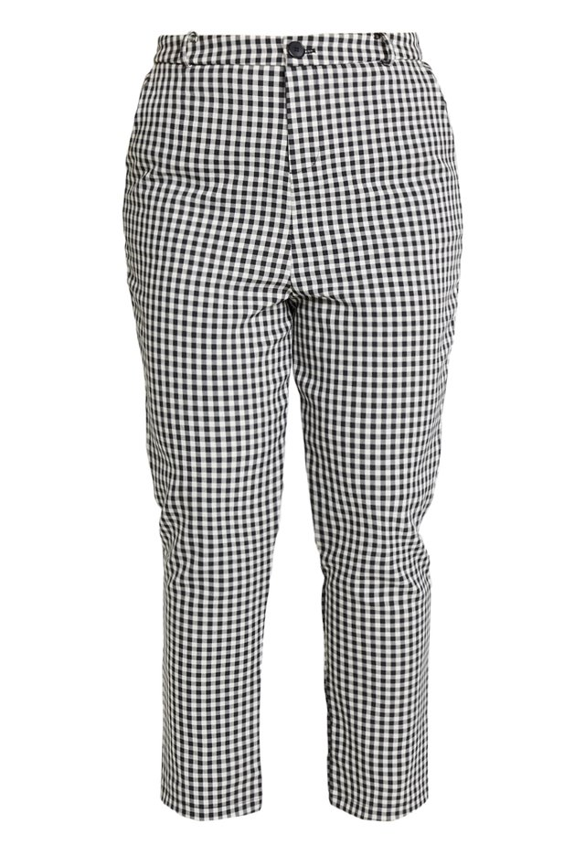DOGTOOTH TAPERED TROSUERS WITH BUTTON FRONT - Stoffhose - black/cream
