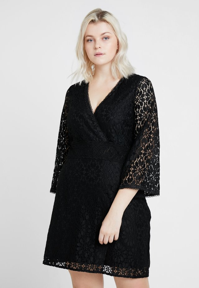 PLUNGE NECK DRESS WITH FLARED SLEEVE - Koktejlové šaty / šaty na párty - black