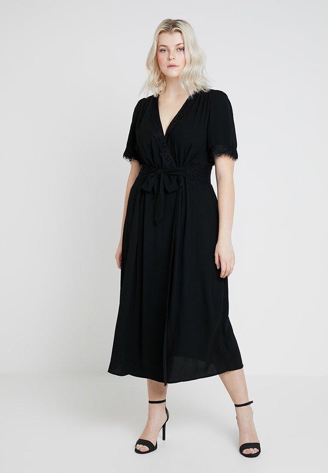 MIDAXI TIE FRONT DRESS WITH DETAIL - Freizeitkleid - black