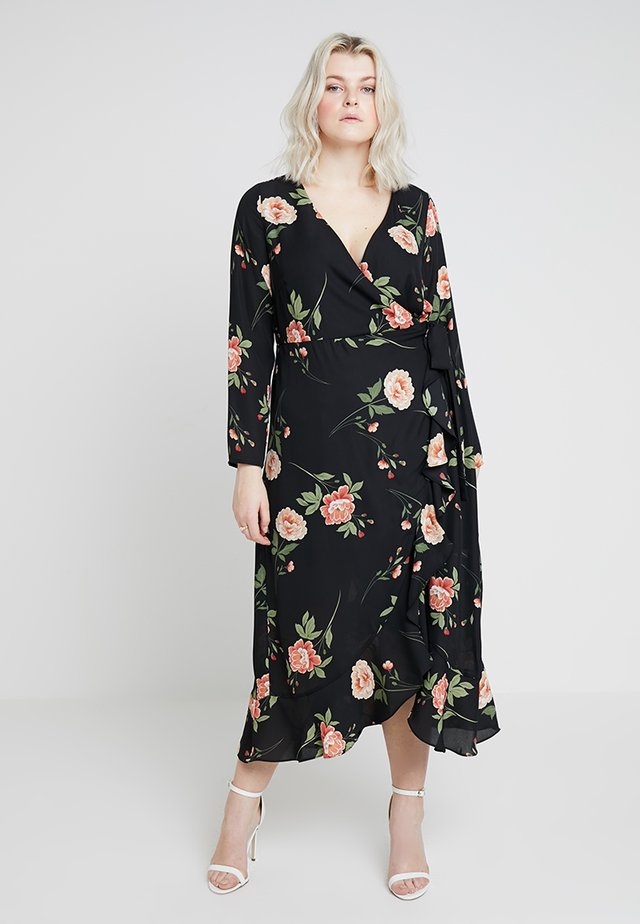 WRAP MIDAXI DRESS IN FLORAL PRINT - Maxikleid - black
