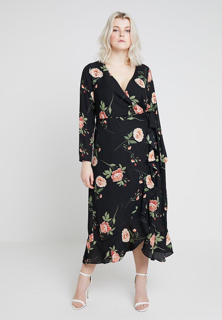 Fashion Union Plus - WRAP MIDAXI DRESS IN FLORAL PRINT - Maxikjoler - black