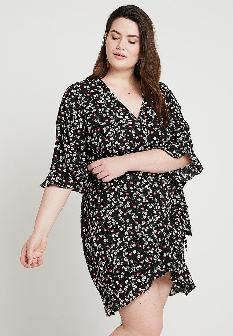 Fashion Union Plus - FASHION UNION DRESS WITH FRILLED EDGES - Denní šaty - black