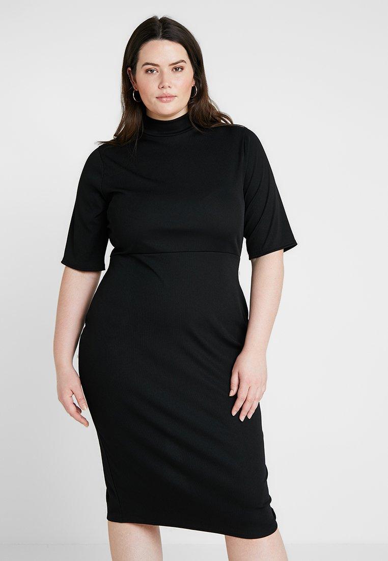 Fashion Union Plus - DRESS WITH BACK - Žerzejové šaty - black