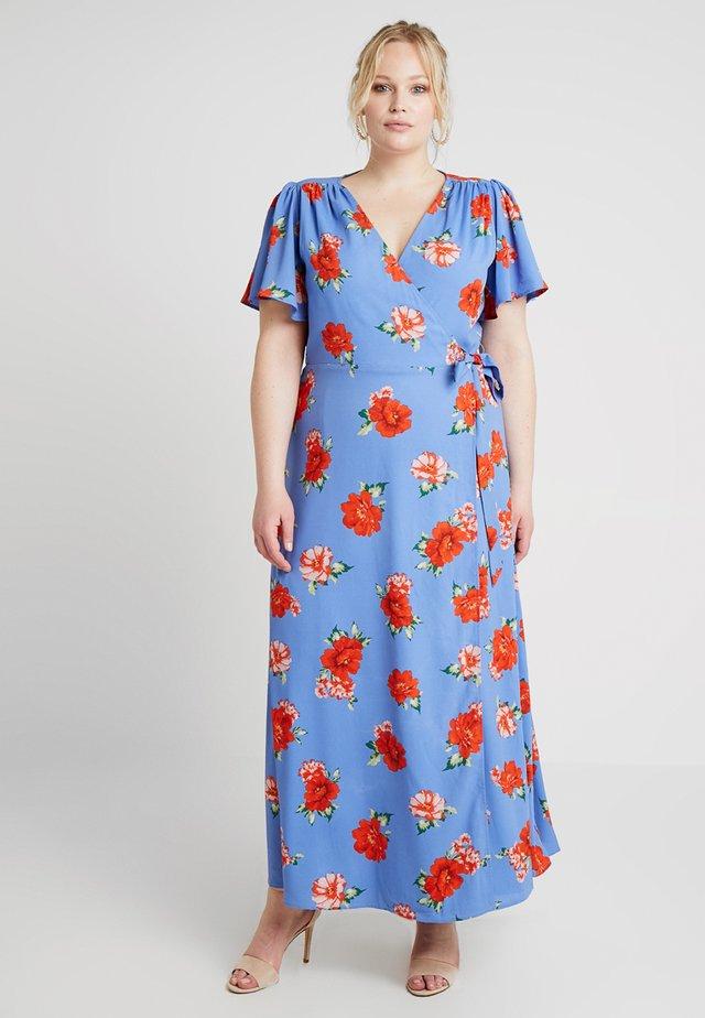FLORAL PRINT WRAP DRESS - Maxi dress - blue sky