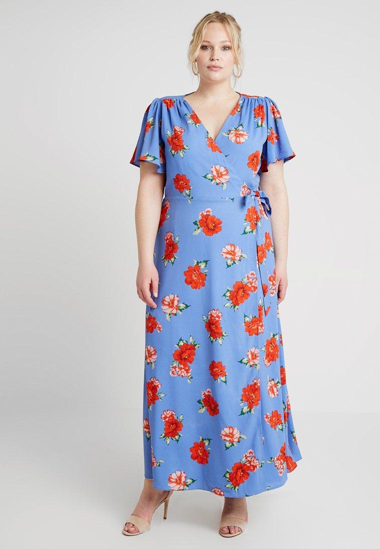 Fashion Union Plus - FLORAL PRINT WRAP DRESS - Maxi šaty - blue sky