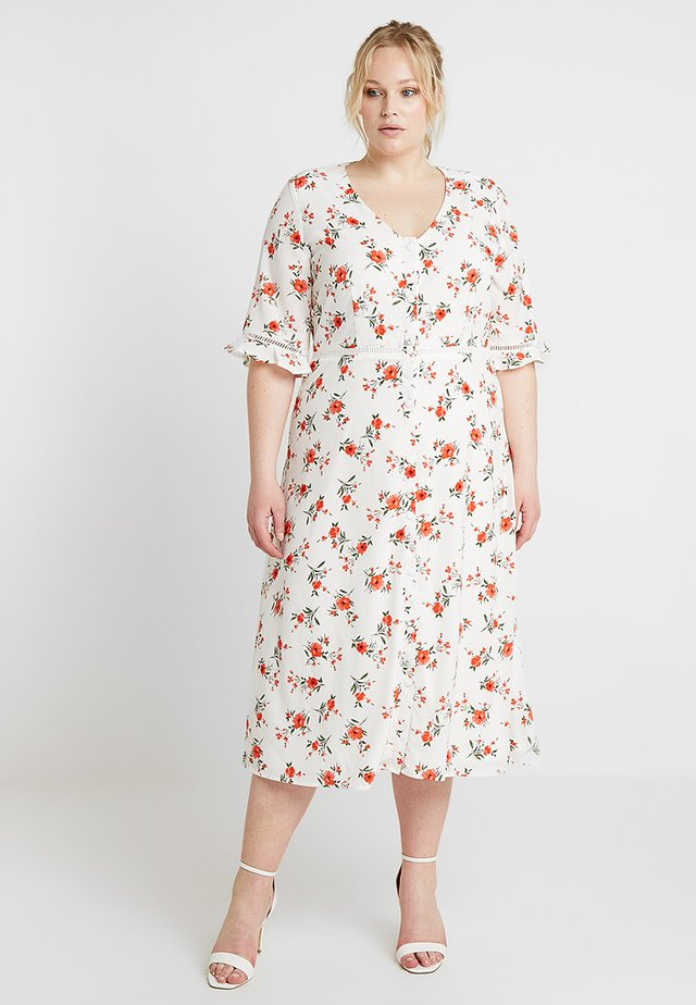 FLORAL PRINT DRESS WITH TRIM DETAIL - Blusenkleid - offwhite