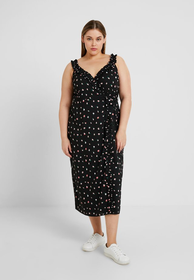 MADAME DRESS WITH FRILLED CAMI STRAPS - Maxi dress - black