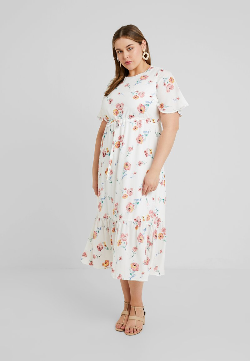 Fashion Union Plus - JEN DRESS WITH FRILLED SLEEVES AND DRAW CORD WAIST - Maxi šaty - white