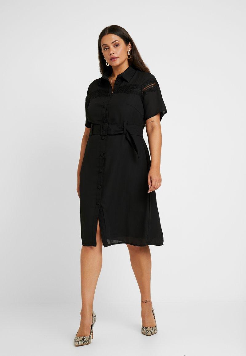 Fashion Union Plus - MIDI DRESS WITH INSERT AND BELT DETAIL - Shirt dress - black